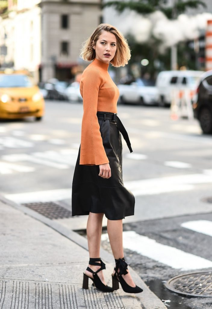 NEW YORK, NY - SEPTEMBER 10: Tess Ward at New York Fashion Week wearing a Karen Millen sweater and skirt on September 10, 2017 in New York City. (Photo by Daniel Zuchnik/Getty Images for Karen Millen)